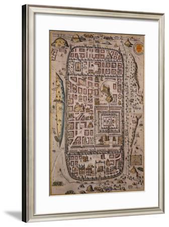 Map of Jerusalem and Surrounding Area Engraved-Joris Hoefnagel-Framed Giclee Print