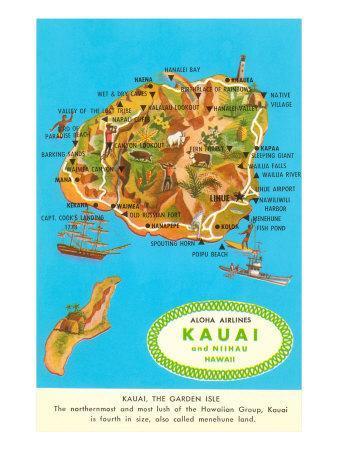 graphic regarding Printable Map of Kauai identify Map of Kauai, Hawaii Artwork Print by way of