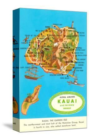 photo about Printable Map of Kauai identify Map of Kauai, Hawaii Stretched Canvas Print via