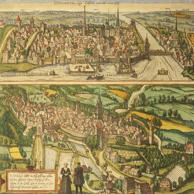 Map of Konstanz and St. Gallen from Civitates Orbis Terrarum--Giclee Print