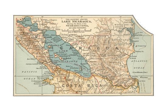 Map of Lake Nicaragua (C. 1900), Maps Giclee Print by Encyclopaedia ...