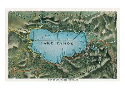 graphic relating to Printable Map of Lake Tahoe identify Map of Lake Tahoe Highways Artwork Print by means of