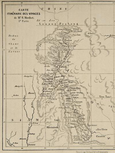 Map of Laos and the Mekong River Showing the Route of the Voyage of Henri Mouhot, Illustration…-French School-Giclee Print