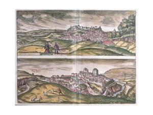 Map of Lebrija and Setenil from Civitates Orbis Terrarum