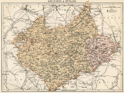 Map of Leicestershire and Rutland, England, 1870s--Giclee Print