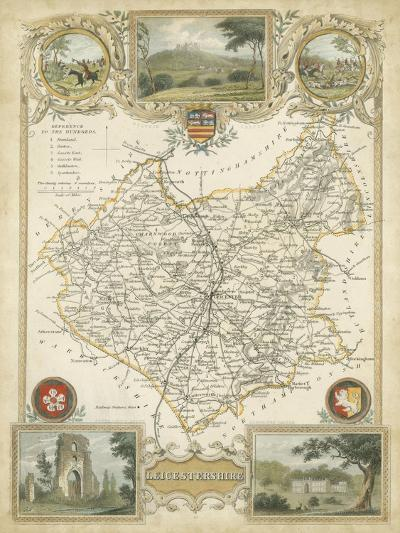 Map of Leicestershire--Art Print