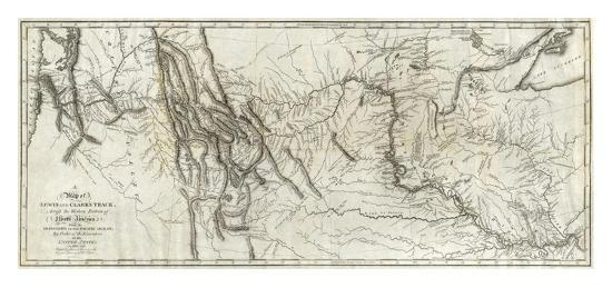 Map of Lewis and Clark's Track, Across the Western Portion of North America, c.1814-Lewis & Clark-Art Print