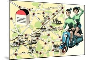 Map of Loire Chateaux, Girls on Scooter