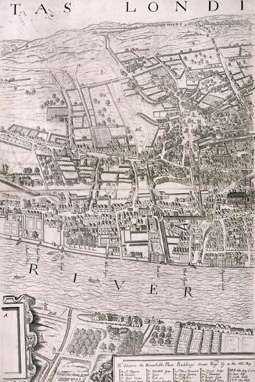 Map of London, 1560-George Vertue-Giclee Print