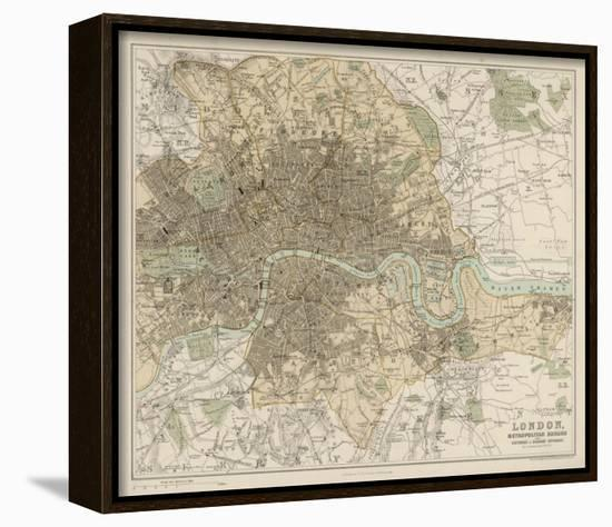 Map of London and Its Suburbs Framed Canvas Print by J. Bartholomew ...
