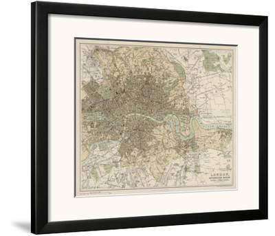 Map of London and Its Suburbs-J^ Bartholomew-Framed Giclee Print
