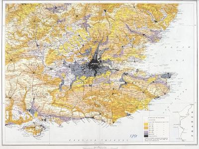 Map of London and South-East England, 1891-John Bartholomew-Giclee Print