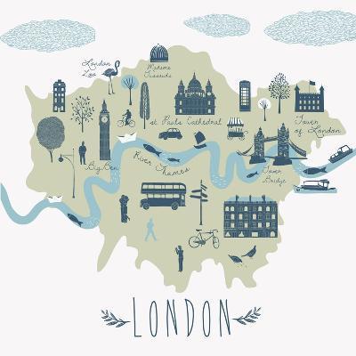 Map of London Attractions-Lavandaart-Art Print