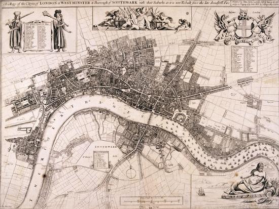Map of London, C1680-John Oliver-Giclee Print