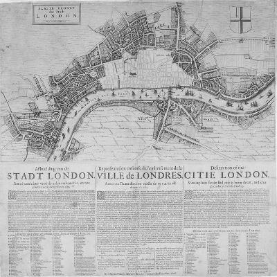 Map of London Showing the Destruction Caused by the Great Fire, 1666-Marcus Willemsz Doornick-Giclee Print