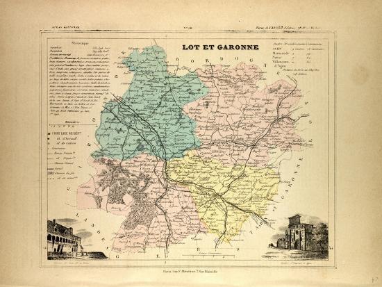 Map Of Lot France.Map Of Lot Et Garonne France Giclee Print By Art Com