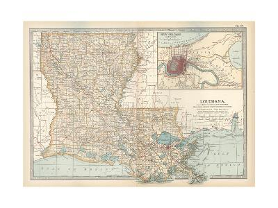 Map of Louisiana. United States. Inset Map of New Orleans and Vicinity-Encyclopaedia Britannica-Giclee Print