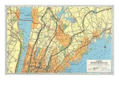 Map of Lower Westchester County, New York--Art Print