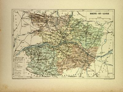 Map of Maine-Et-Loire France--Giclee Print