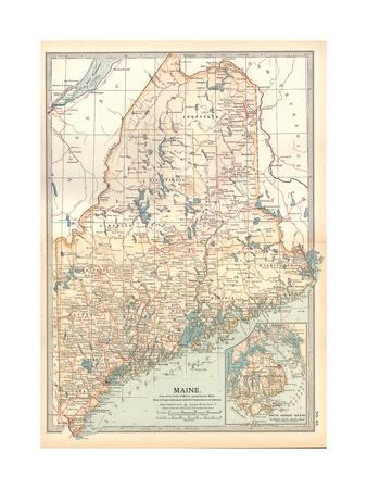 photograph relating to Printable Map of Maine named Map of Maine, United Says. Inset of Mount Desert Island Giclee Print through Encyclopaedia Britannica