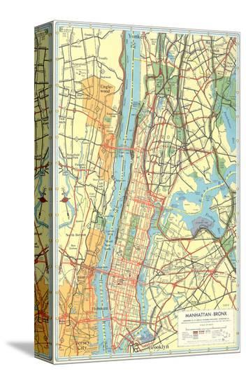 Map of Manhattan and Bronx, New York--Stretched Canvas Print