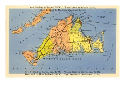 Map of Martha's Vineyard, Massachusetts--Art Print