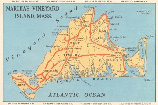 Map of Martha's Vineyard Art Print by | Art.com Marthas Vineyard Map on