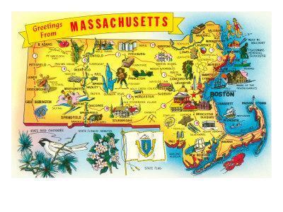 image regarding Printable Map of Massachusetts identified as Map of Machusetts Artwork Print by way of