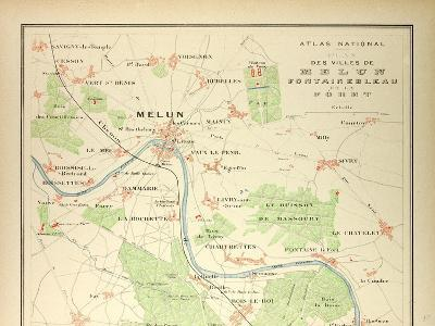 Map of Melun Fontainebleau--Giclee Print