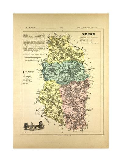 Map of Meuse France--Giclee Print