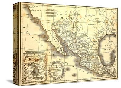 Map Of Mexico Dated 1821-Tektite-Stretched Canvas Print