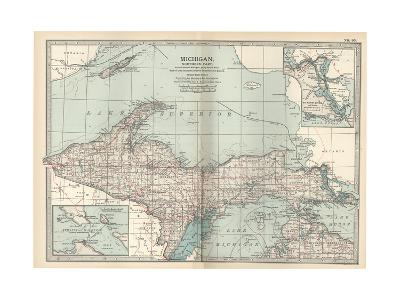 Map of Michigan, Northern Part-Encyclopaedia Britannica-Giclee Print