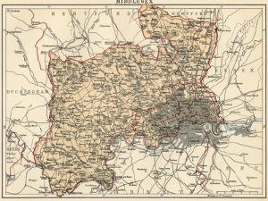 Map of Middlesex, England, 1870s