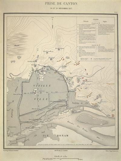 Map of Military Operations During Opium Wars, Taking of Canton, China, December 28-29, 1857--Giclee Print
