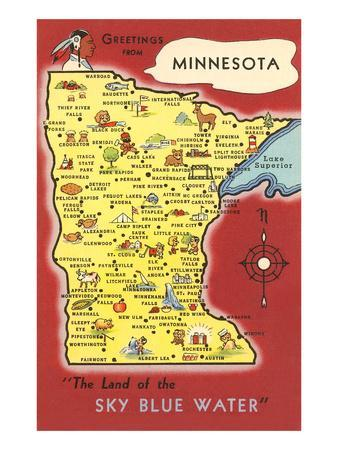graphic relating to Printable Map of Minnesota named Map of Minnesota Artwork Print by means of