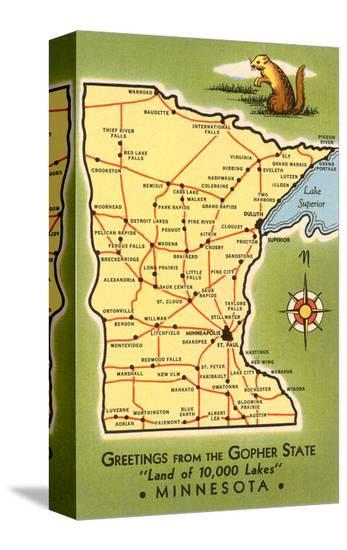 Map of Minnesota--Stretched Canvas Print