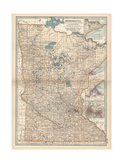 Map of Minnesota-Encyclopaedia Britannica-Giclee Print