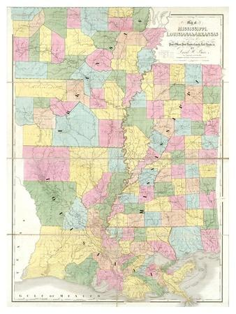 image regarding Printable Map of Arkansas named Map of Mississippi, Louisiana and Arkansas, c.1839 Artwork Print by means of David H. Burr