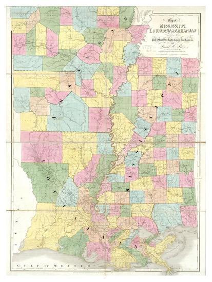 Arkansas And Louisiana Map.Map Of Mississippi Louisiana And Arkansas C 1839 Art Print By