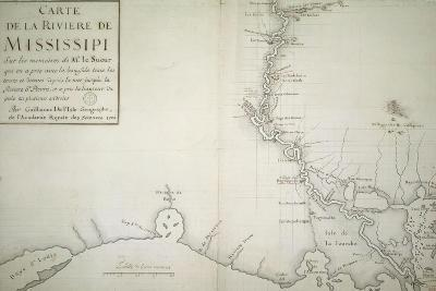 Map of Mississippi River by Guillaume Delisle on Paper, Created in Paris, 1702--Giclee Print