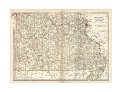 Map of Missouri, Southern Part. United States-Encyclopaedia Britannica-Giclee Print