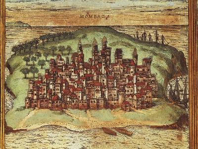 Map of Mombasa, Kenya, from Civitates Orbis Terrarum by Georg Braun and Franz Hogenberg--Giclee Print