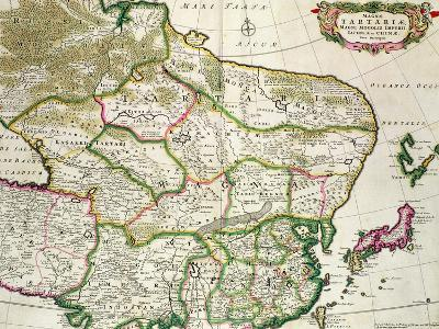 Map of Mongolia Showing Part of Russia, Japan and China, C.1680-Frederick de Wit-Giclee Print