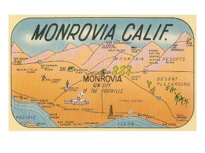 Map of Monrovia, California--Art Print