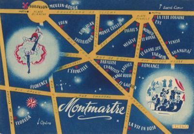 Map of Montmarte, Paris, France