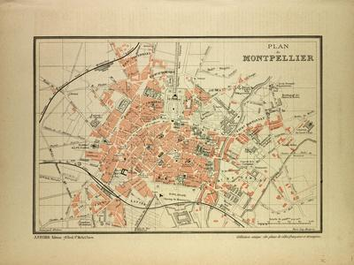 Map of Montpellier, France--Giclee Print