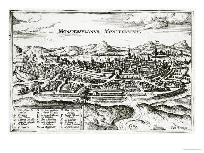 Map of Montpellier, from Civitates Orbis Terrarum by Georg Braun-Joris Hoefnagel-Giclee Print