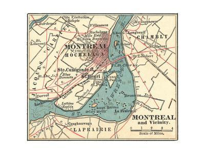 photo relating to Printable Map of Montreal identified as Map of Montreal (C. 1900), Maps Giclee Print via Encyclopaedia Britannica
