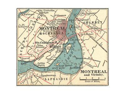 Map of Montreal (C. 1900), Maps-Encyclopaedia Britannica-Giclee Print