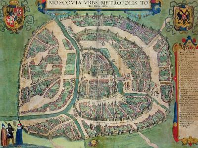 "Map of Moscow, from ""Civitates Orbis Terrarum"" by Georg Braun and Frans Hogenberg circa 1572-1617-Joris Hoefnagel-Giclee Print"